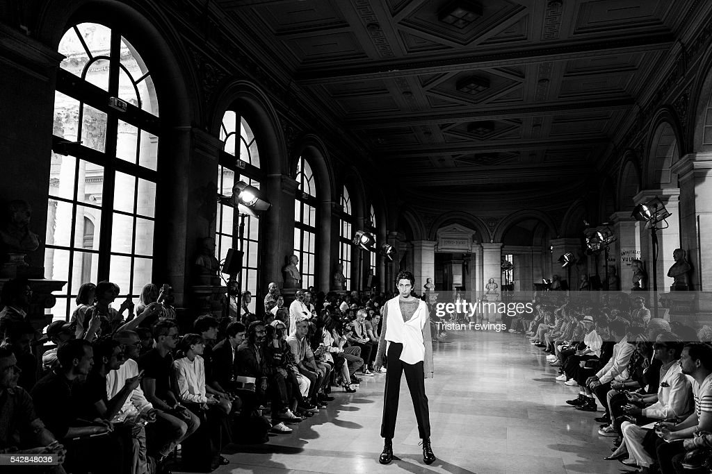 A model walks the runway at the Maison Margiela Menswear Spring/Summer 2017 show as part of Paris Fashion Week on June 24, 2016 in Paris, France.