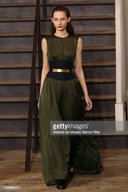 A model walks the runway at the Maison Rabih Kayrouz ReadyToWear Fall/Winter 2012 show as part of Paris Fashion Week on on March 7 2012 in Paris...