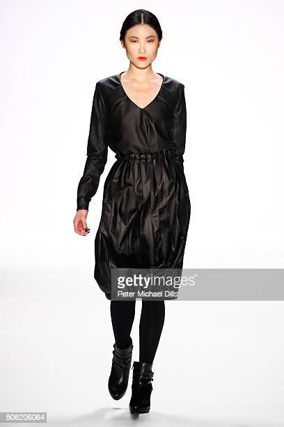 A model walks the runway at the Maisonnoee show during the MercedesBenz Fashion Week Berlin Autumn/Winter 2016 at Brandenburg Gate on January 22 2016...