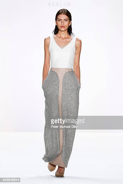 A model walks the runway at the Maisonnoee show during the MercedesBenz Fashion Week Berlin Spring/Summer 2017 at Erika Hess Eisstadion on June 30...