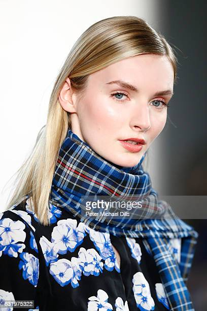 A model walks the runway at the Maisonnoee show during the MercedesBenz Fashion Week Berlin A/W 2017 at Kaufhaus Jandorf on January 18 2017 in Berlin...