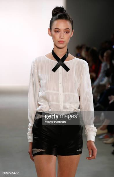 A model walks the runway at the Maisonnoee show during the MercedesBenz Fashion Week Berlin Spring/Summer 2018 at Kaufhaus Jandorf on July 5 2017 in...