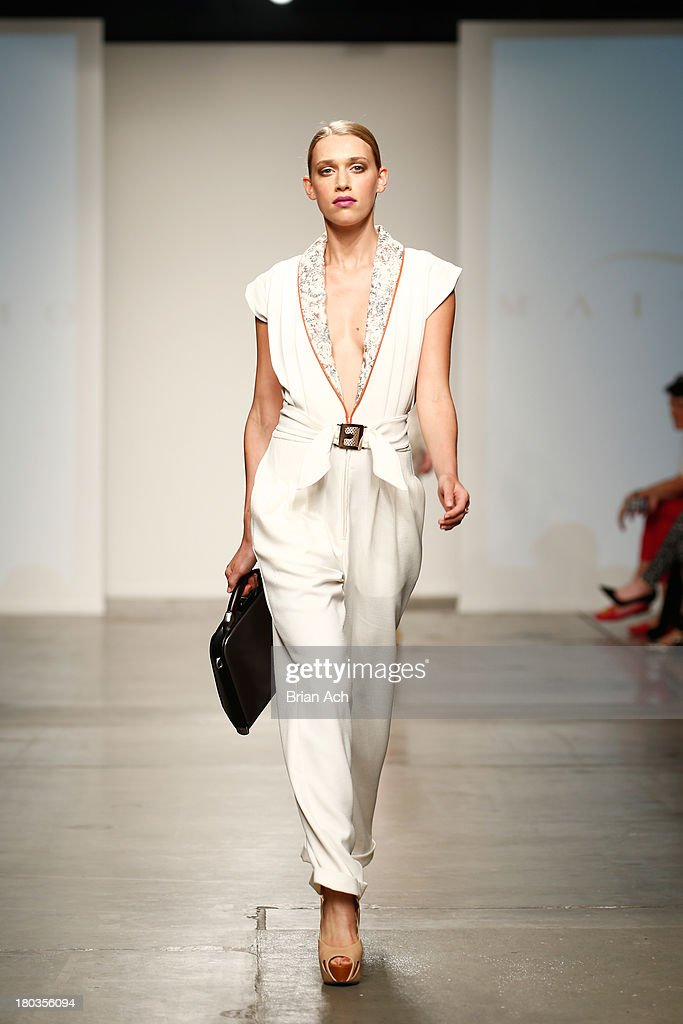A model walks the runway at the Maita Marimo show during Nolcha Fashion Week New York Spring/Summer 2014 presented by RUSK at Pier 59 Studios on September 11, 2013 in New York City.