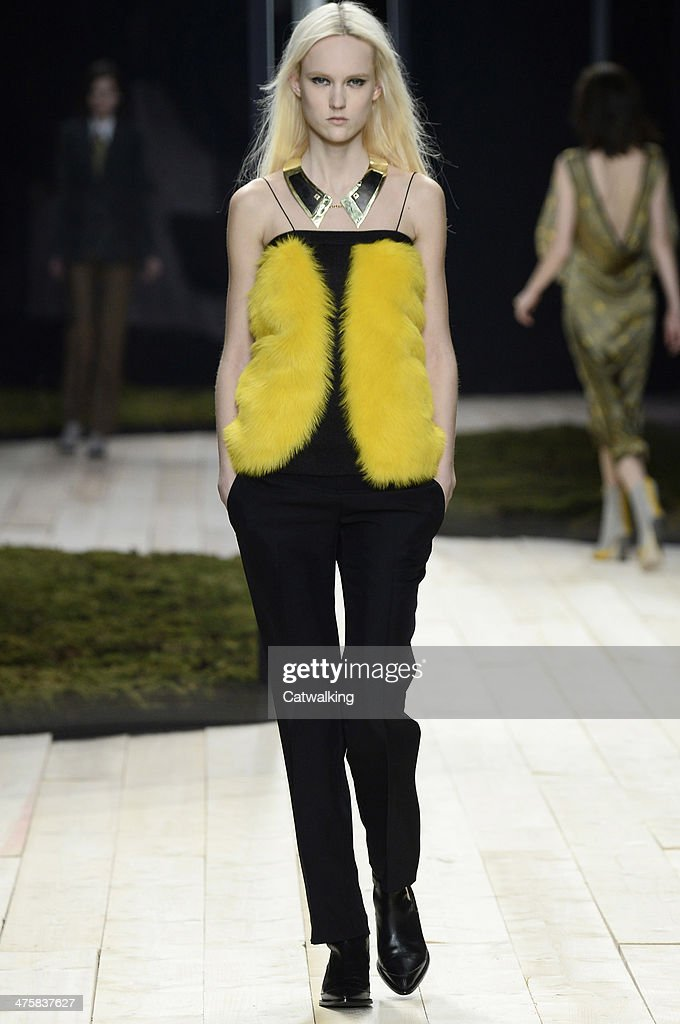 A model walks the runway at the Maiyet Autumn Winter 2014 fashion show during Paris Fashion Week on March 1, 2014 in Paris, France.