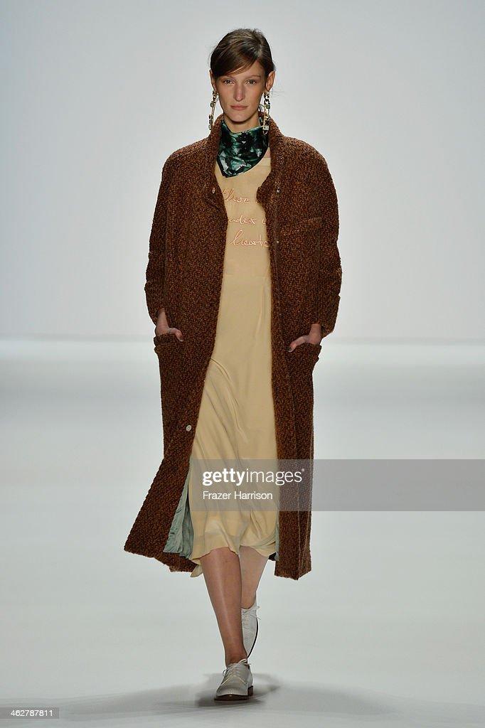 A model walks the runway at the Malaikaraiss Show during Mercedes-Benz Fashion Week Autumn/Winter 2014/15 at Brandenburg Gate on January 15, 2014 in Berlin, Germany.