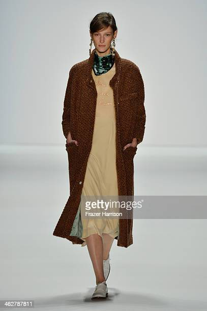 A model walks the runway at the Malaikaraiss Show during MercedesBenz Fashion Week Autumn/Winter 2014/15 at Brandenburg Gate on January 15 2014 in...