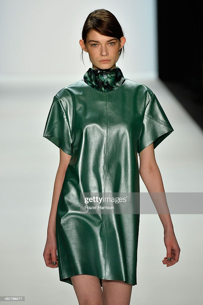 A model walks the runway at the Malaikaraiss Show during Mercedes-Benz Fashion Week Autumn/Winter 2014/15 at Brandenburg Gate on January 15, 2014 in Berlin, Germany.