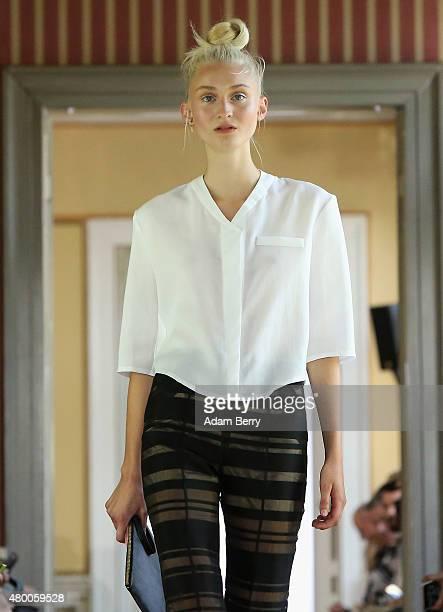 A model walks the runway at the Malaikaraiss show during MercedesBenz Fashion Week Berlin Spring/Summer 2016 at the Palais am Festungsgraben on July...