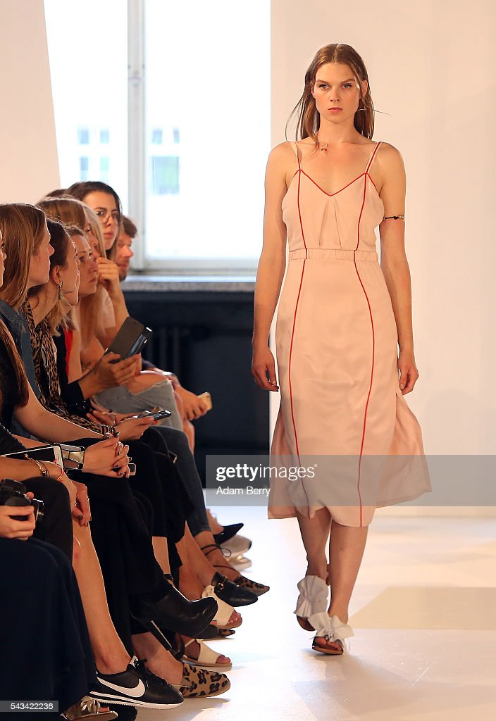 A model walks the runway at the Malaikaraiss show during the Mercedes-Benz Fashion Week Berlin Spring/Summer 2017 at Kronprinzenpalais on June 28, 2016 in Berlin, Germany.