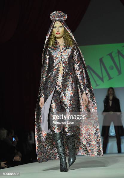 A model walks the runway at the Malan Breton fashion show during Fall 2016 New York Fashion Week at Gotham Hall on February 11 2016 in New York City
