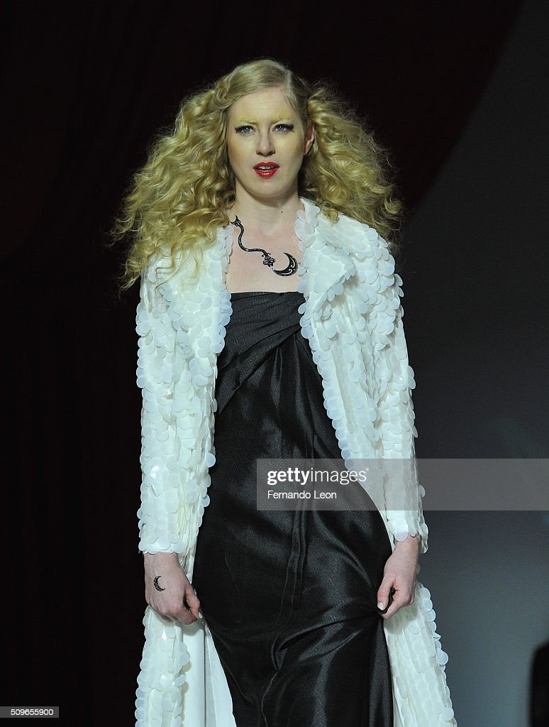 A model walks the runway at the Malan Breton fashion show during Fall 2016 New York Fashion Week at Gotham Hall on February 11, 2016 in New York City.