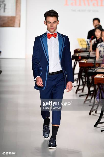 A model walks the runway at the Malan Breton fashion show during MercedesBenz Fashion Week Spring 2015 at The Salon at Lincoln Center on September 6...