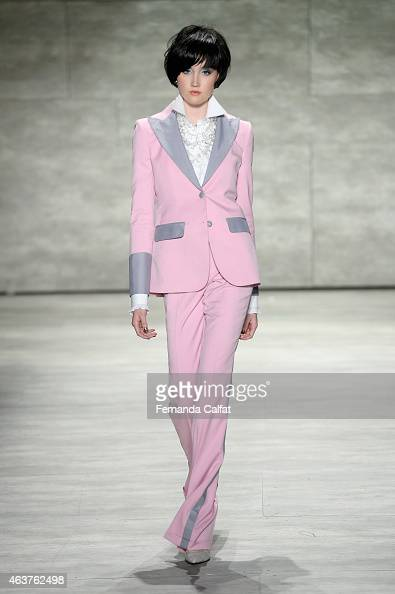 A model walks the runway at the Malan Breton fashion show during MercedesBenz Fashion Week Fall at The Pavilion at Lincoln Center on February 18 2015...