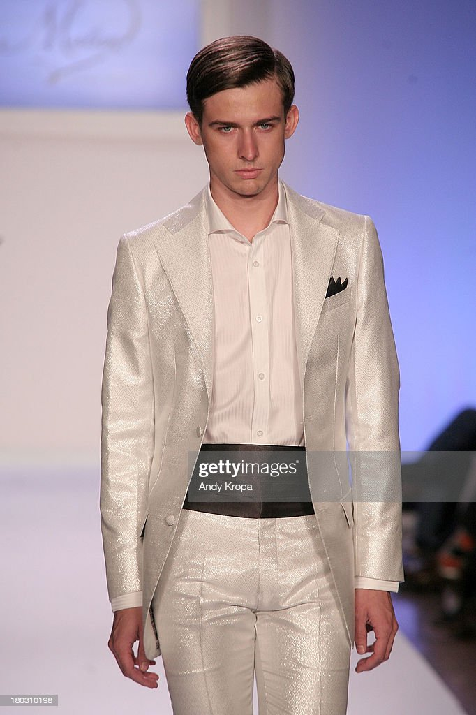 A model walks the runway at the Malan By Malan Breton fashion show during STYLE360 Spring 2014 at Metropolitan Pavilion on September 11, 2013 in New York City.