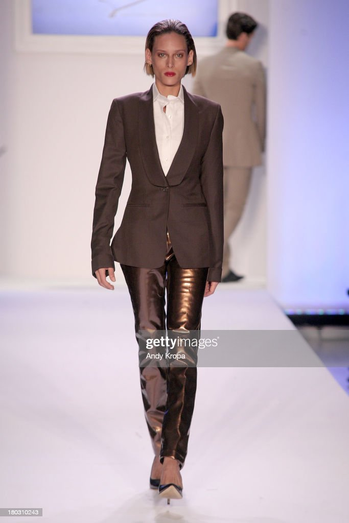 A model walks the runway at the Malan By Malan Breton fashion show during STYLE360 Spring 2014 at Metropolitan Pavilion on September 11 2013 in New...