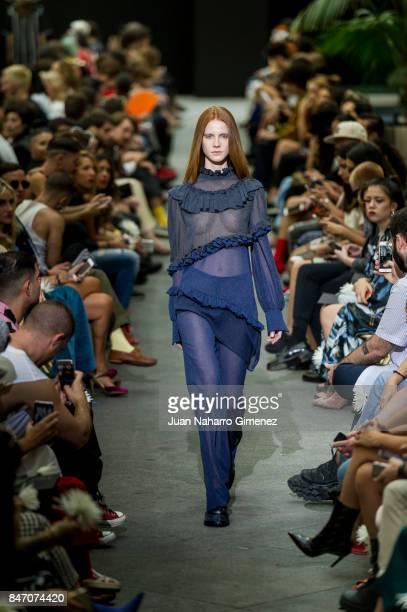 A model walks the runway at the Manemane show during the MercedesBenz Fashion Week Madrid Spring/Summer 2018 at Palacio de Cibeles on September 14...