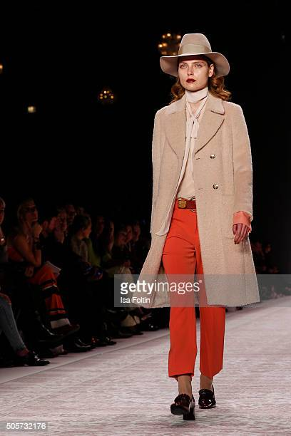 A model walks the runway at the Marc Cain show during MercedesBenz Fashion Week Berlin Autumn/Winter 2016 on January 19 2016 in Berlin Germany