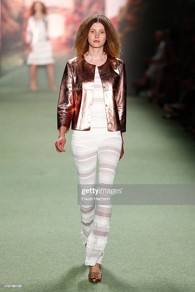 A model walks the runway at the Marc Cain show during the MercedesBenz Fashion Week Berlin Spring/Summer 2016 at Brandenburg Gate on July 7 2015 in...