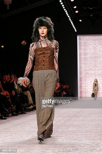 A model walks the runway at the Marc Cain Show MercedesBenz Fashion Week Berlin Autumn/Winter 2016 on January 19 2016 in Berlin Germany