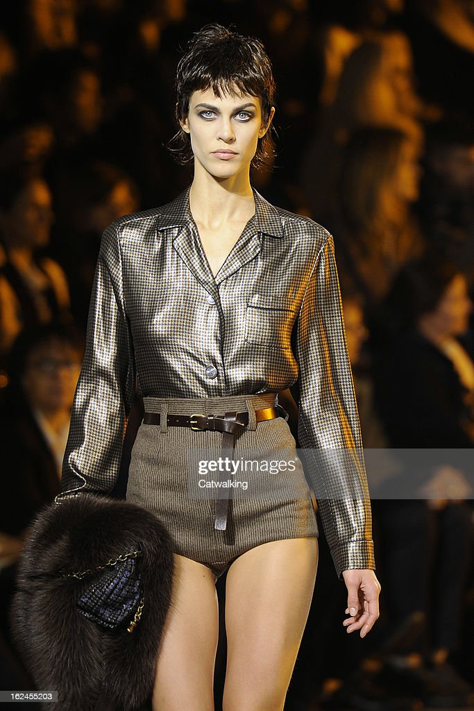 A model walks the runway at the Marc Jacobs Autumn Winter 2013 fashion show during New York Fashion Week on February 14, 2013 in New York, United States.