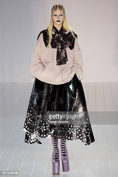 A model walks the runway at the Marc Jacobs Fall 2016 show during New York Fashion Week at The Park Avenue Armory at 643 Park Avenue on February 18...