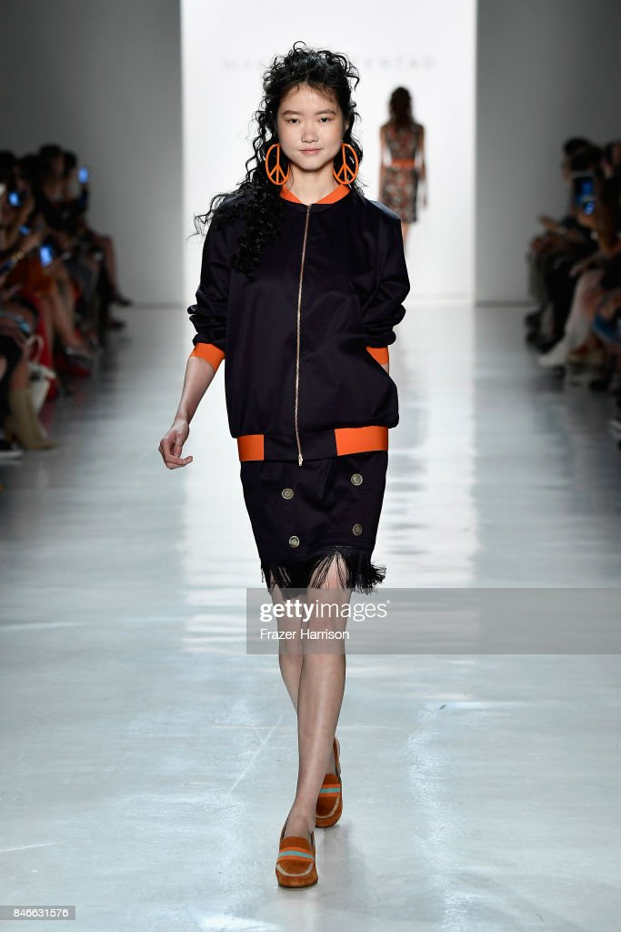A model walks the runway at the Marcel Ostertag fashion show during New York Fashion Week: The Shows at Gallery 3, Skylight Clarkson Sq on September 13, 2017 in New York City.