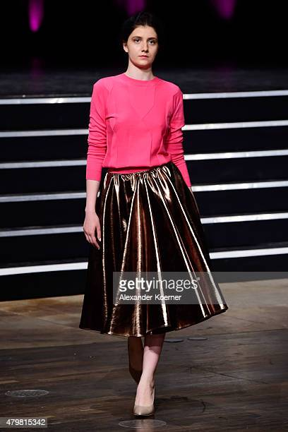 A model walks the runway at the Marcel Ostertag show during the MercedesBenz Fashion Week Berlin Spring/Summer 2016 at Admiralspalast on July 7 2015...