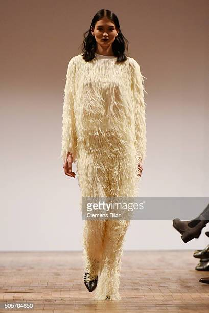 A model walks the runway at the Marcel Ostertag show during the MercedesBenz Fashion Week Berlin Autumn/Winter 2016 at Heeresbaeckerei on January 19...