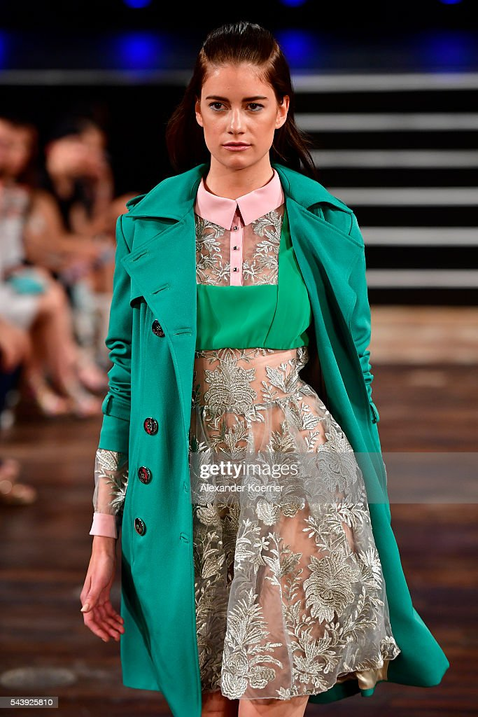 A model walks the runway at the Marcel Ostertag show during the Mercedes-Benz Fashion Week Berlin Spring/Summer 2017 at Admiralspalast on June 30, 2016 in Berlin, Germany.
