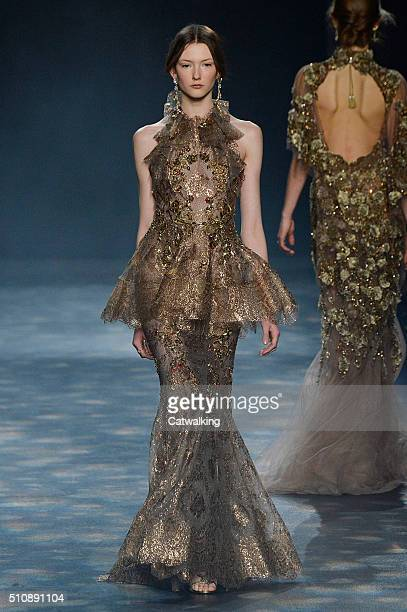 A model walks the runway at the Marchesa Autumn Winter 2016 fashion show during New York Fashion Week on February 17 2016 in New York United States