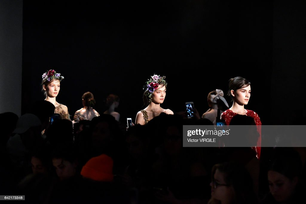A model walks the runway at the Marchesa Ready to Wear Fall Winter 2017-2018 fashion show during New York Fashion Week on February 15, 2017 in New York City.