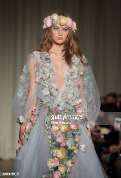 A model walks the runway at the Marchesa show during London Fashion Week Spring Summer 2015 at on September 13 2014 in London England