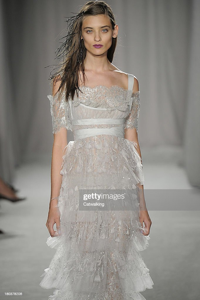 A model walks the runway at the Marchesa Spring Summer 2014 fashion show during New York Fashion Week on September 11, 2013 in New York, United States.