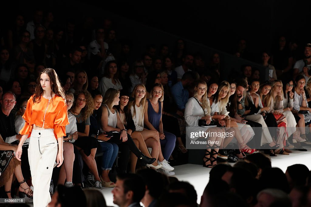 A model walks the runway at the Mareike Massing show (DfT winner 2015), 'Designer for Tomorrow' by Peek & Cloppenburg and Fashion ID, during the Mercedes-Benz Fashion Week Berlin Spring/Summer 2017 at Erika Hess Eisstadion on June 30, 2016 in Berlin, Germany.