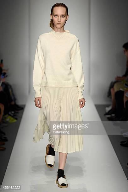 A model walks the runway at the Margaret Howell Spring Summer 2015 fashion show during London Fashion Week on September 14 2014 in London United...