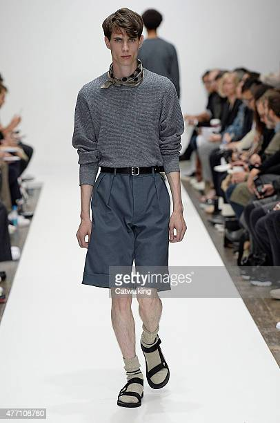 A model walks the runway at the Margaret Howell Spring Summer 2016 fashion show during London Menswear Fashion Week on June 14 2015 in London United...
