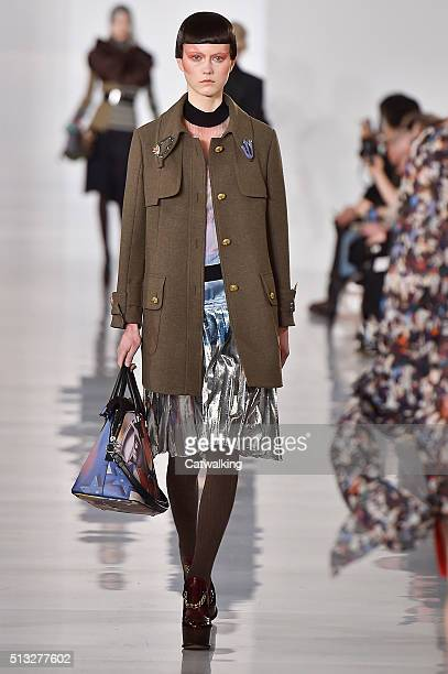 A model walks the runway at the Margiela Winter 2016 fashion show during Paris Fashion Week on March 2 2016 in Paris France