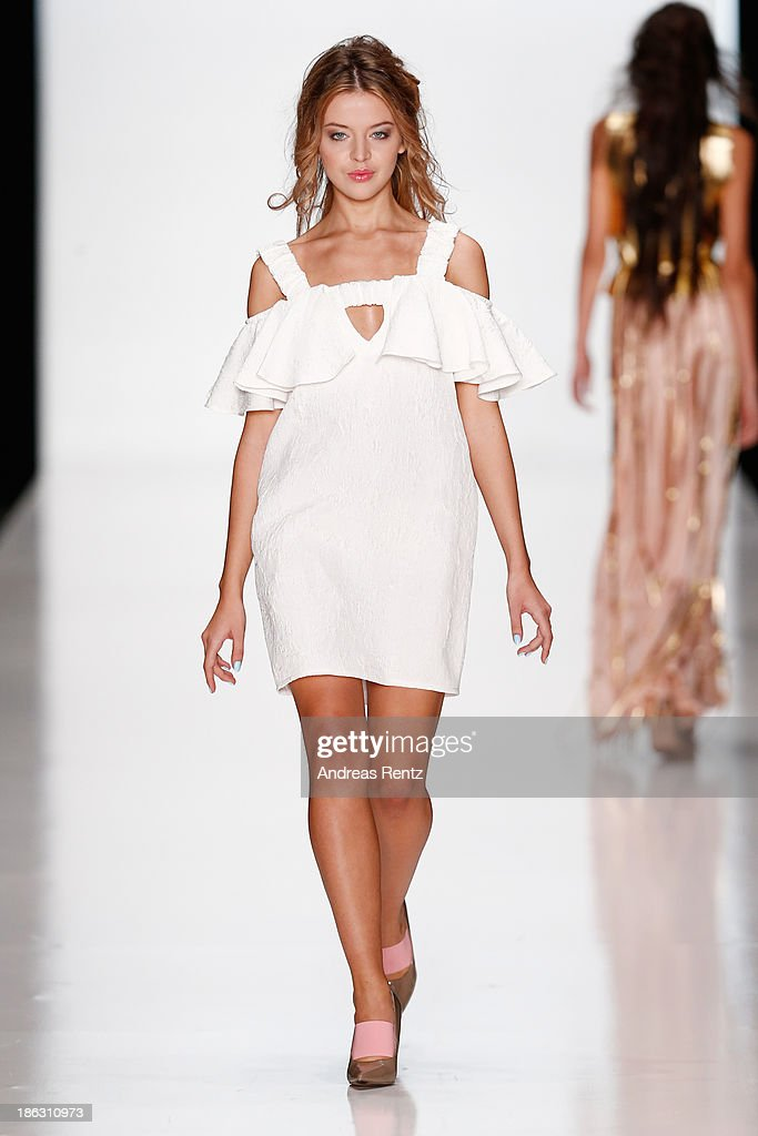 A model walks the runway at the Maria Golubeva show during Mercedes-Benz Fashion Week Russia S/S 2014 on October 30, 2013 in Moscow, Russia.