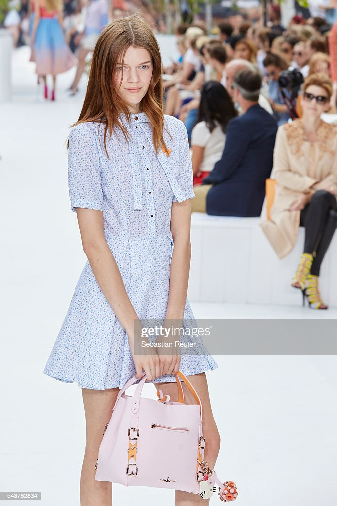 A model walks the runway at the Marina Hoermanseder defilee during the Der Berliner Mode Salon Spring/Summer 2017 at Kronprinzenpalais on June 30, 2016 in Berlin, Germany.