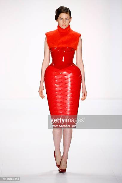 A model walks the runway at the Marina Hoermanseder show during the MercedesBenz Fashion Week Berlin Autumn/Winter 2015/16 at Brandenburg Gate on...