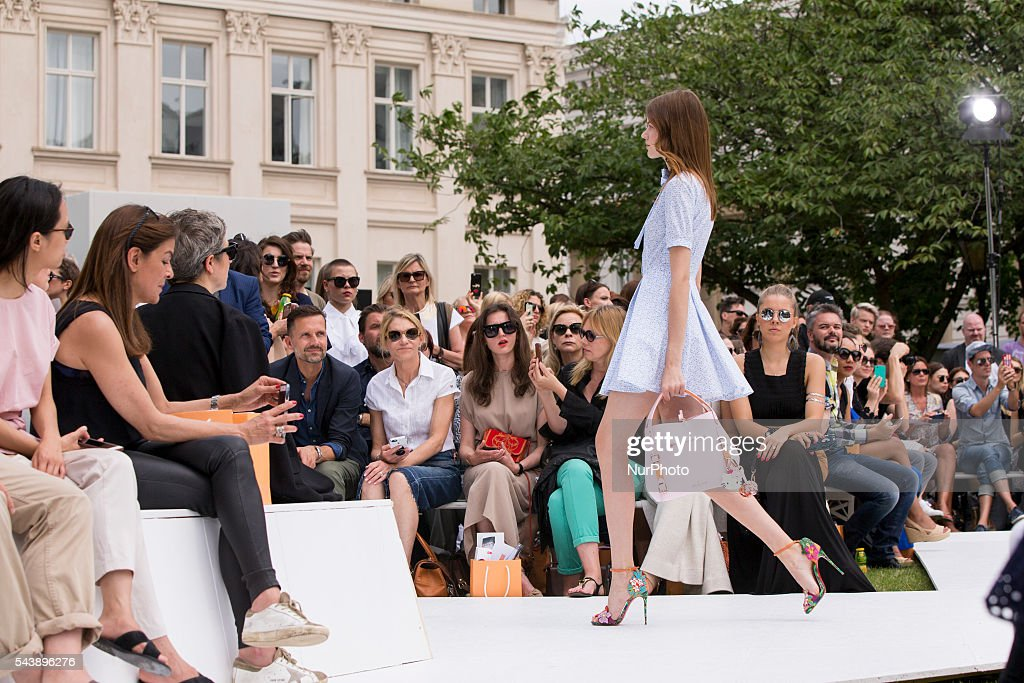 A model walks the runway at the Marina Hoermanseder show during the Mercedes-Benz Fashion Week Berlin Spring/Summer 2017 at Kronprinzenpalais in Berlin, Germany on June 30, 2016.
