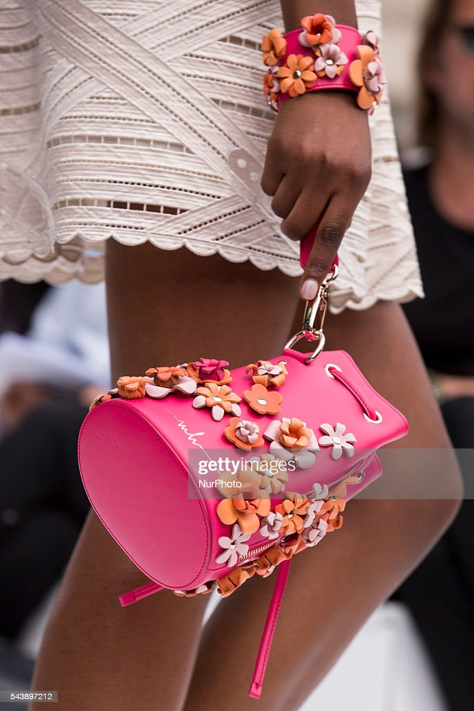 A model walks the runway (detail) at the Marina Hoermanseder show during the Mercedes-Benz Fashion Week Berlin Spring/Summer 2017 at Kronprinzenpalais in Berlin, Germany on June 30, 2016.