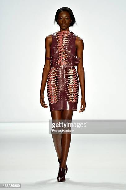 A model walks the runway at the Marina Hoermanseder show during MercedesBenz Fashion Week Autumn/Winter 2014/15 at Brandenburg Gate on January 17...