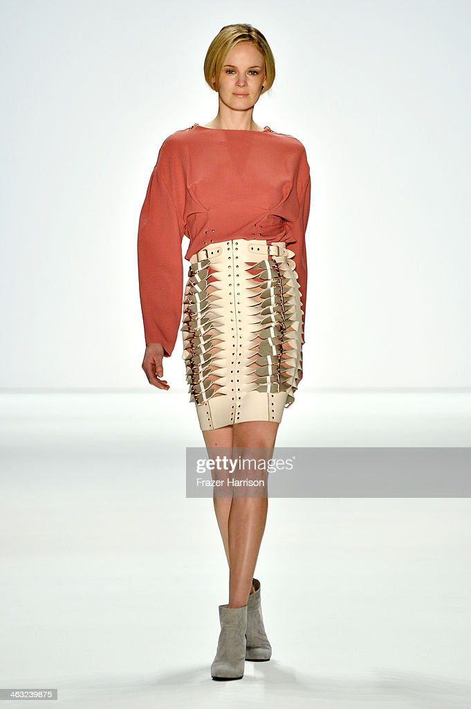 A model walks the runway at the Marina Hoermanseder show during Mercedes-Benz Fashion Week Autumn/Winter 2014/15 at Brandenburg Gate on January 17, 2014 in Berlin, Germany.