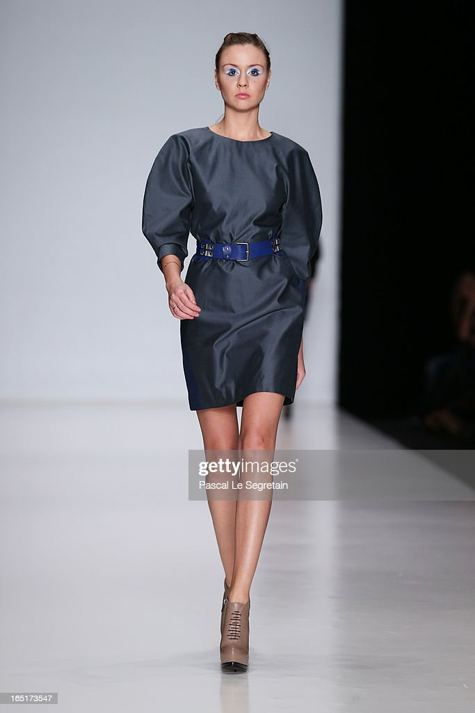 A model walks the runway at the MARINICH show for Belarus Fashion Week Collective during Mercedes-Benz Fashion Week Russia Fall/Winter 2013/2014 at Manege on April 1, 2013 in Moscow, Russia.