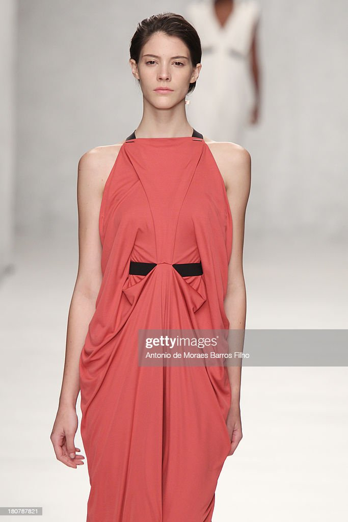 A model walks the runway at the Marios Schwab show during London Fashion Week SS14 at TopShop Show Space on September 16, 2013 in London, England.