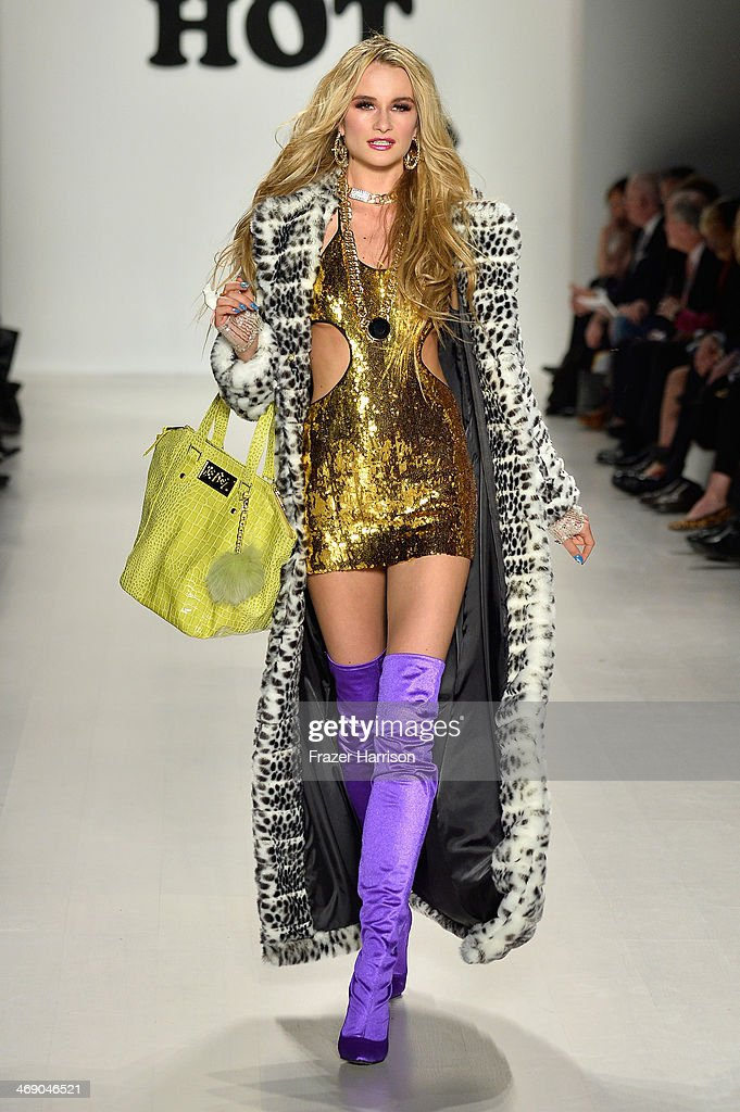 A model walks the runway at the Marist College Presents Betsey Johnson Reprise fashion show during Mercedes-Benz Fashion Week Fall 2014 at The Salon at Lincoln Center on February 12, 2014 in New York City.