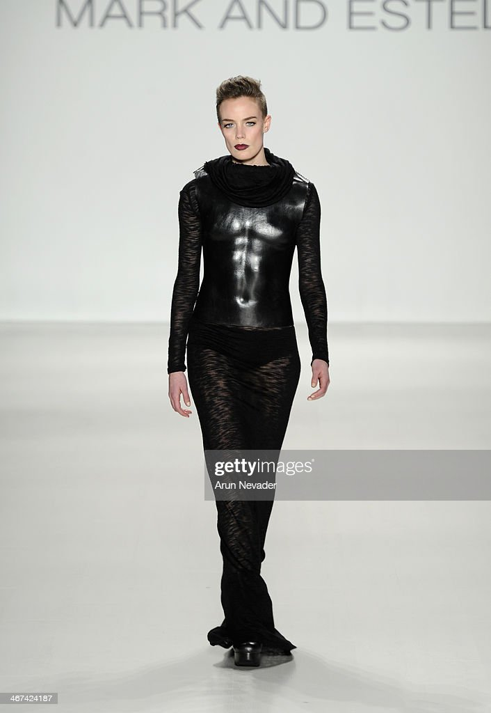 A model walks the runway at the Mark And Estel fashion show during Mercedes-Benz Fashion Week Fall 2014 at The Salon at Lincoln Center on February 6, 2014 in New York City.