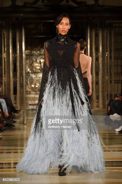 A model walks the runway at the Mark Fast show at Fashion Scout during the London Fashion Week February 2017 collections on February 17 2017 in...