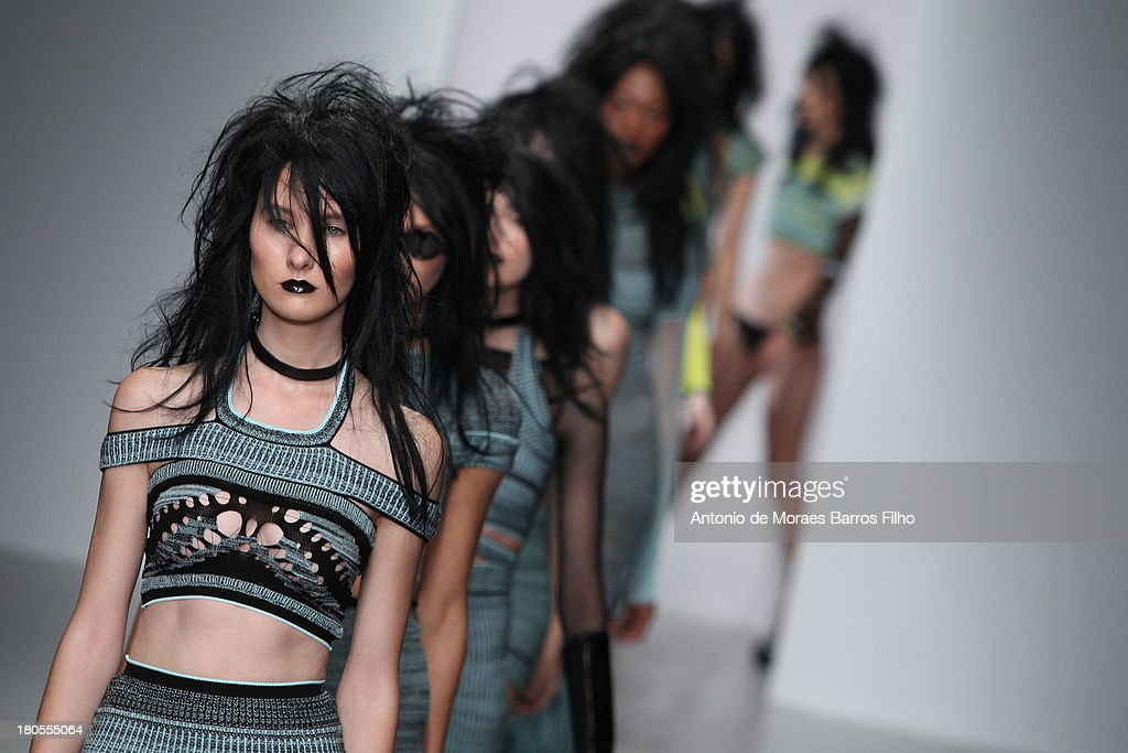 A model walks the runway at the Mark Fast show during London Fashion Week SS14 at BFC Courtyard Showspace on September 14 2013 in London England